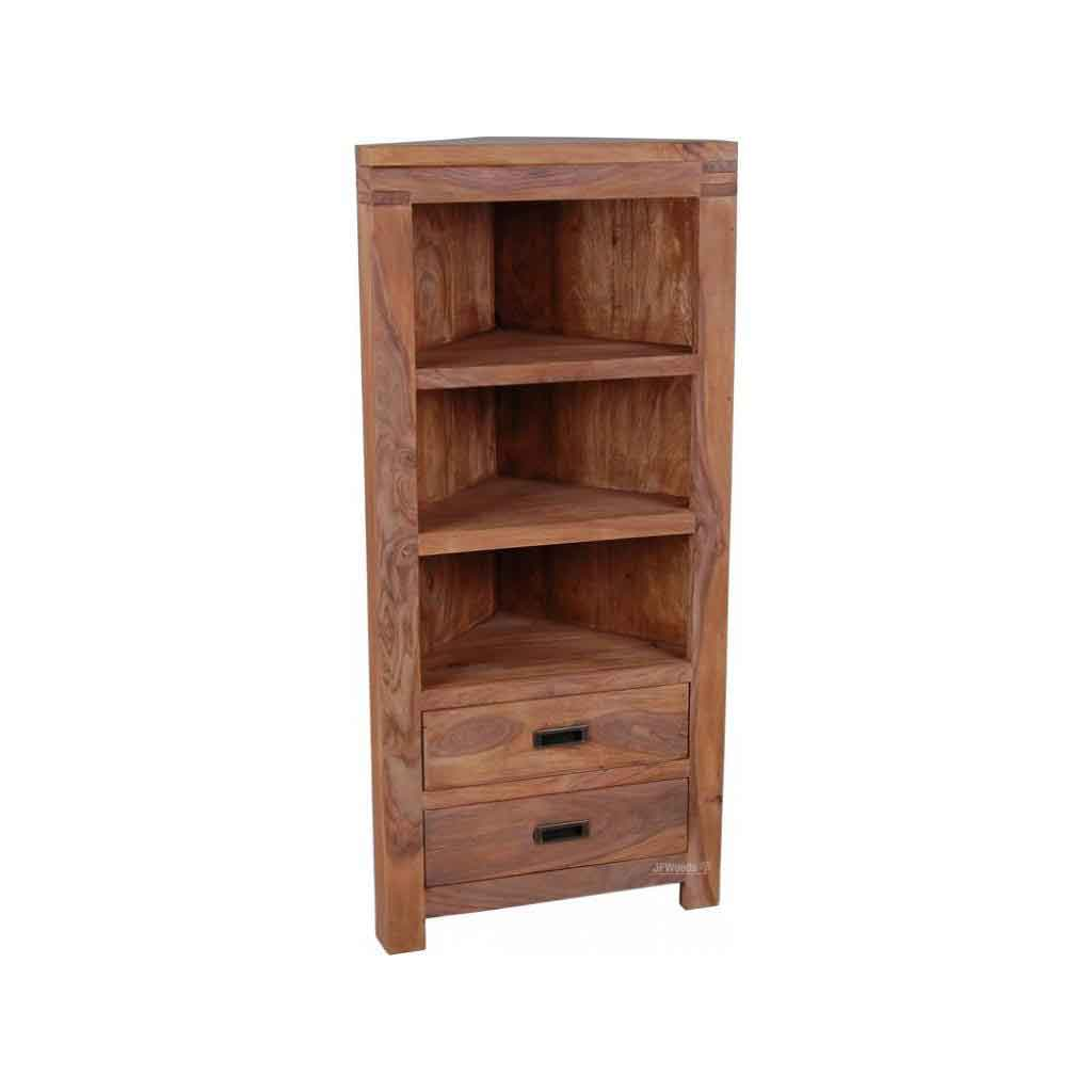 Unicorn Solid Wood Corner Bookcase With 2 Drawers 2